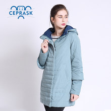 2018 Thin Women's Coat Spring Autumn Women's Fashion Windproof Parkas Female Hood Jacket New Large size6XL 7XL Hot Sale CEPRASK(China)