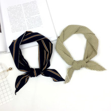 New Spring Summer Stripe Narrow Long Scarf Women Soft Scarves Stylish Tie Belt Wrist Strap Small Ribbon Neckerchief Schal