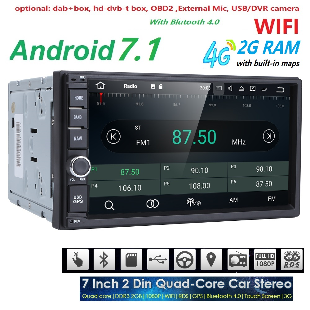 2G RAM Android 7.1 Auto Radio Quad Core de 7 Polegadas 2DIN Carro Universal SEM unidade de Cabeça DVD player GPS Áudio Estéreo Apoio DAB DVR OBD BT