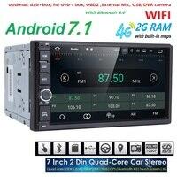 2G RAM Android 7.1 Auto Radio Quad Core 7 Inch 2DIN Universal Car NIE odtwarzacz DVD GPS Audio Stereo radioodtwarzacza Obsługuje DAB DVR OBD BT