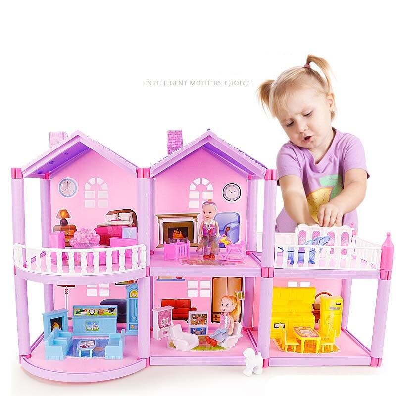 Artesanal Castelo DIY Casa de Brinquedo Casa De Bonecas Em Miniatura Casa De Bonecas Presentes de Aniversário Brinquedos Educativos Boneca Villa Menina Brinquedo DIY