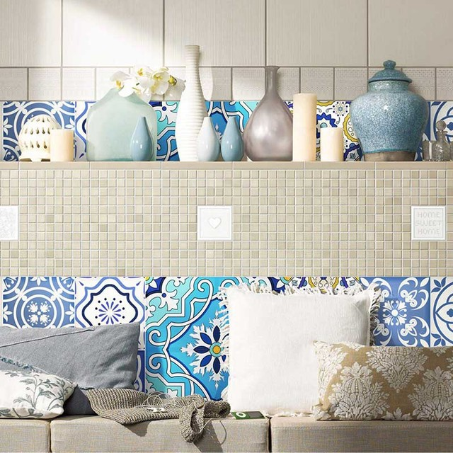 20 PCS Set Traditional Tiles Wall Stickers Bathroom U0026 Kitchen Tile Decals  Fashion Bohemia Tribe Style
