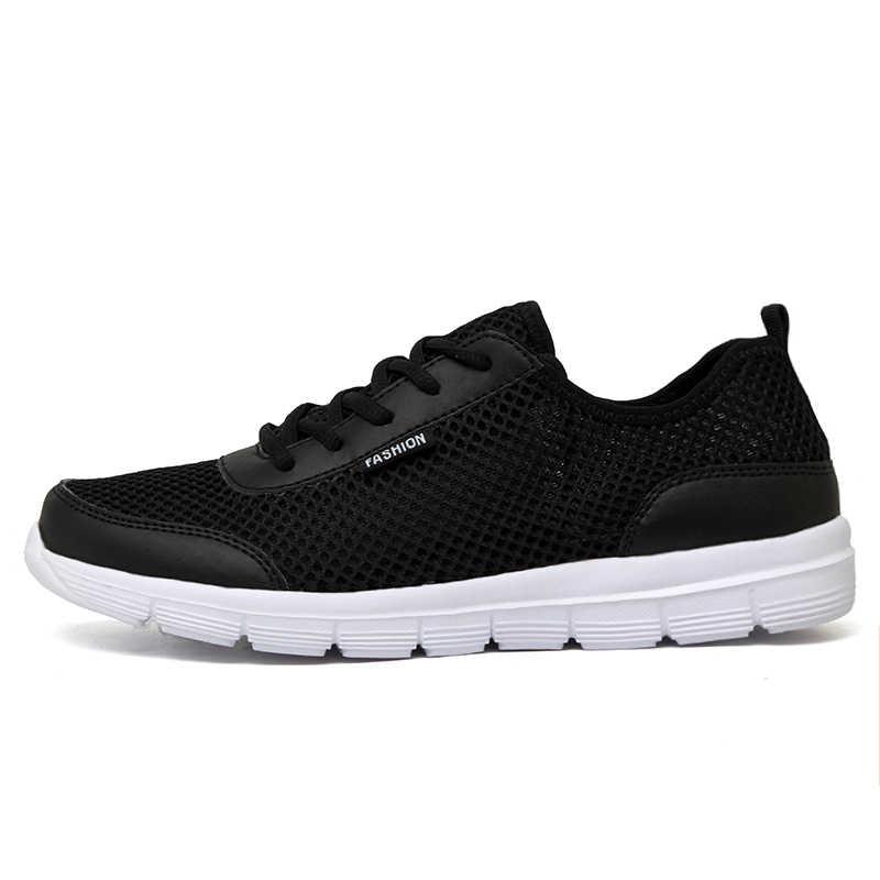 رياضية الرجال الصيف سبورات الأحذية Krasovki حذاء رجالي 2018 أحذية الرجال تنفس الرجال تنيس Masculino زائد حجم 35-48 الأسود