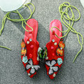 AIWEIYi Genuine Leather Women Flats Sandals Mules Shoes Female Summer Style Slippers Sweet Ladies Sandals Vintage Shoes Woman