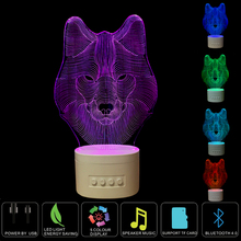 3d Night Light Lighting Lamps for Family Animal Wolf USB Rechargeable Bluetooth Speaker Music 3D Table Lamp