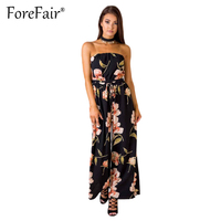 Forefair Boho Floral Print Jumpsuit Rompers Women Casual Wide Leg Long Pants Overalls Sexy Strapless Black