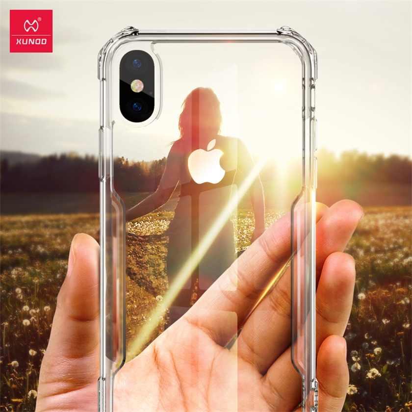 Xundd Premium Trasparente Trasparente Della Cassa Del Telefono per Iphone X Del Silicone Pieno Proteggere Iphone 7 8 X Xs Caso di Max con cinghia di Scarabeo