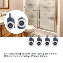 8Pcs/set Single or Double Wheel Twin Bottom Top Shower Door Rollers Sliding Shower Room Cabin door roller pulleys wheels single shower glass door roller runner pulleys replacement bottom 25mm wheel diy shower door accessories