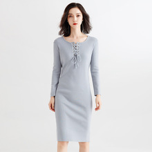 Korean dress female 2018 new stylish womens autumn and winter loose long slim large size kinitted for women h9022