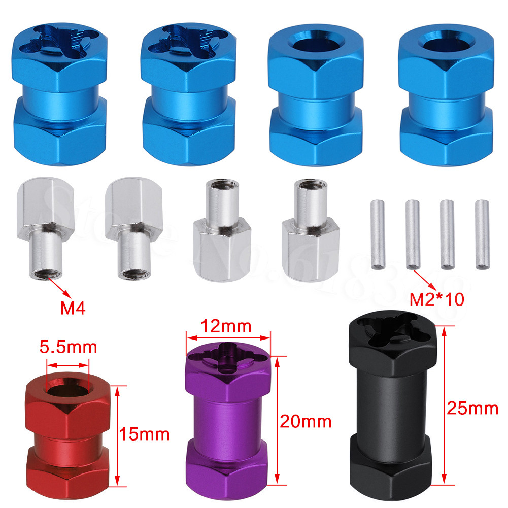 4pcs Aluminum RC Car 12mm Hex Wheel Hub Drive Adaptor 15/20/25mm Extension Combiner Coupler For 1/10 RC Crawler Axial SCX10 D90