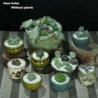 Promotion 2017 New Coarse Pottery Flower Pot Planters For Succulents Bonsai Art Personalized Simple Succulent Plants