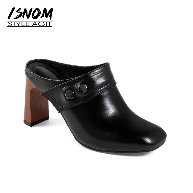 ISNOM 2018 Fashion Women Shoes Heel Mules Genuine Leather Square toe Lady Footwear Slip on High Heeled Pumps Slingback Female wetkiss new arrival genuine leather female footwear leisure retro square toe mules slingback pumps low square heels shoes woman