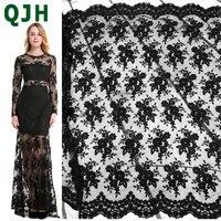 QJH бренд черный французский кружевной тюль вышитый цветок прозрачная сетка Белое кружево для свадебное платье Шитье аксессуары