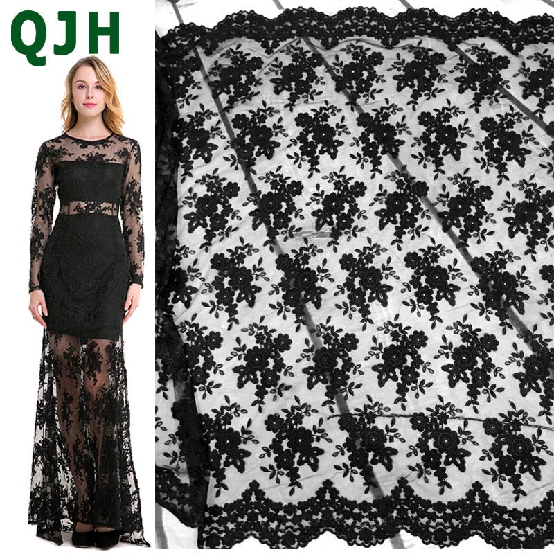 QJH Marque Noir Français Dentelle Tissu Tulle Brodé Fleur Transparent Net Blanc Dentelle pour Robe De Mariée Couture accessoires