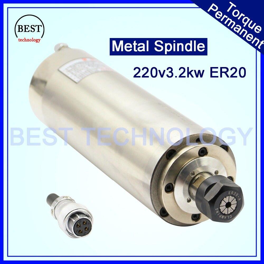CNC шпинделя Двигатель ER20 3kw модернизации продукта 3.2kw 220 В AC с водяным охлаждением шпинделя d100mm работает для деревянная дверь, камень, мягкий