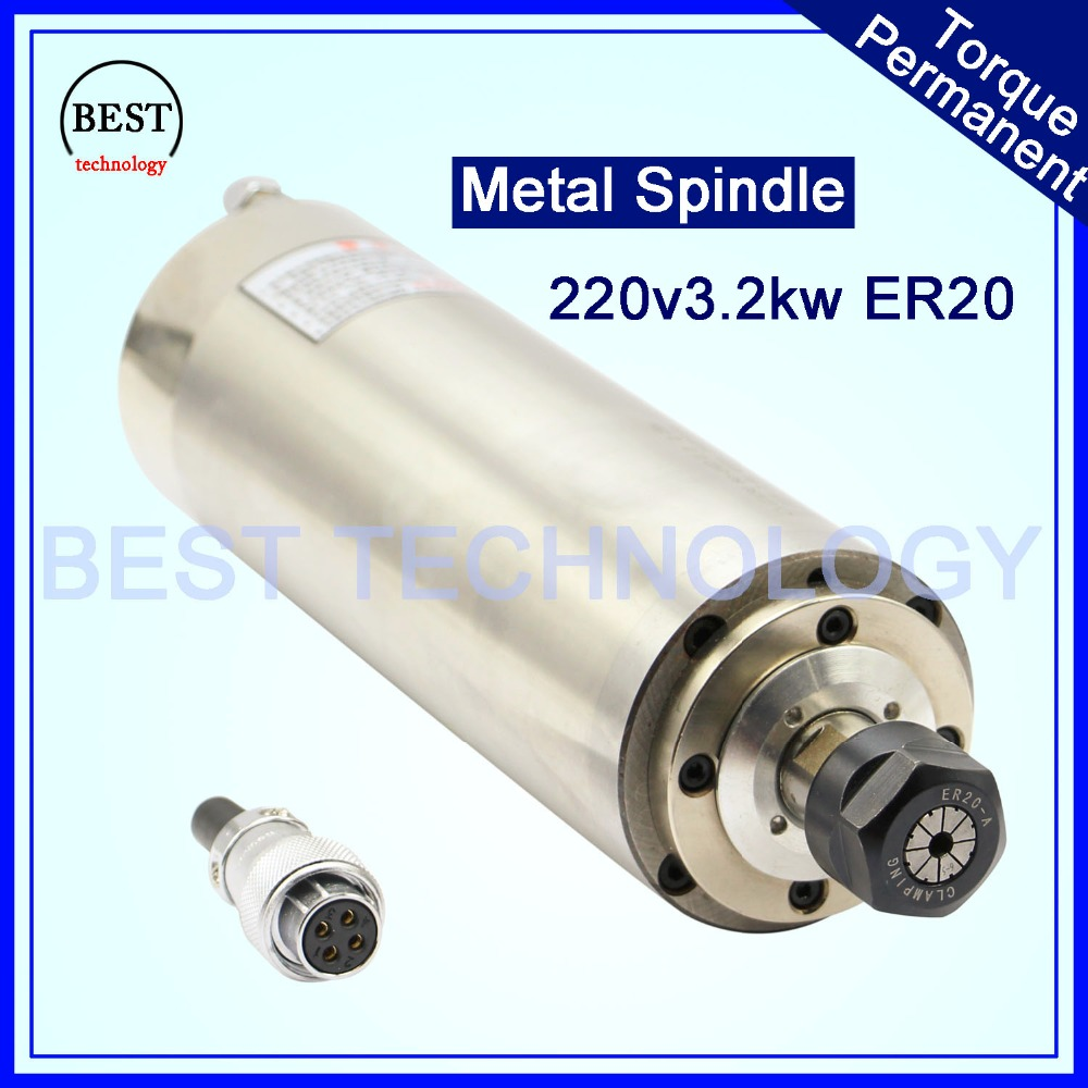 CNC Spindle Motor ER20 3kw upgrading product 3 2KW 220V AC Water Cooled Spindle D100mm working