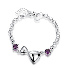 2016 new  925 sterling silver jewelry bracelet fashion lovely butterly with purple stone bracelet top quality wholesale H474