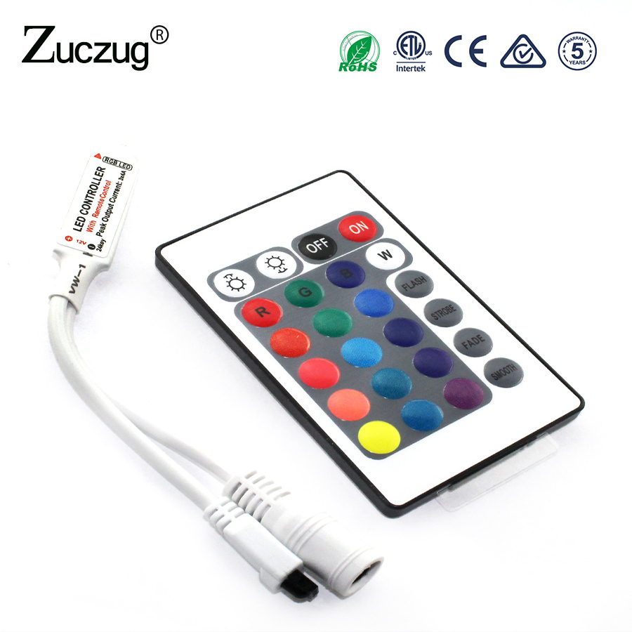 RGB LED Controller DC12V Mini 24Key IR Remote dimmer lights For 3528 5050 RGB LED Strip. bifi led wifi remote controller works with alexa google home voice control for 5050 3528 rgb led strip lights change dimmer ti