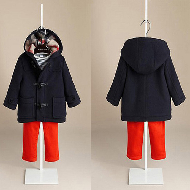 Autumn Winter Boys' Hooded Woolen Coat with Oxhorn Buttons, Kids' Thick Jackets, Europe&America Style Children's Warm Outerwears