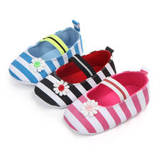 Baby Shoes Boys Girls Casual Fashion Shoes Infant Kids Girls Baby Stripe Flower Shoes Soft Sole Anti-Slip Shoes Single Sneakers(China)