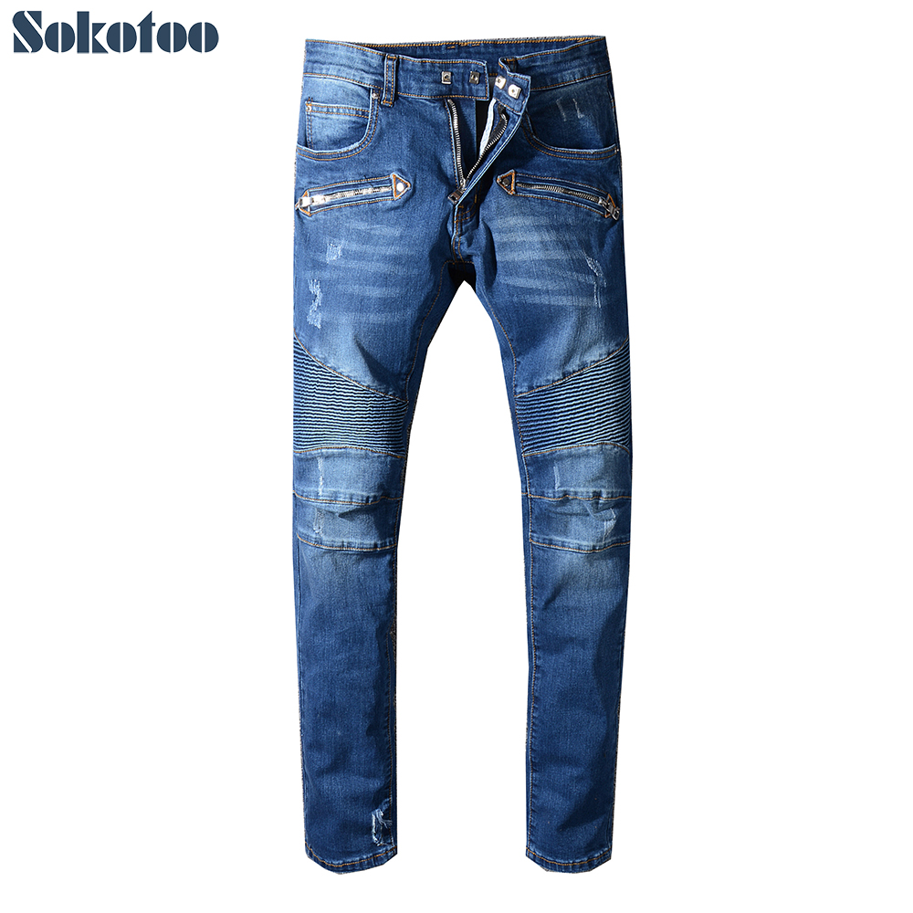 Sokotoo Men's Classic Blue Ripped Biker Jeans For Motorcycle Plus Size Slim Fit Moustache Effect Stretch Denim Pants