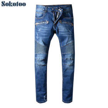 Sokotoo Men's classic blue ripped biker jeans for motorcycle Plus size slim fit moustache effect stretch denim pants - DISCOUNT ITEM  5% OFF All Category