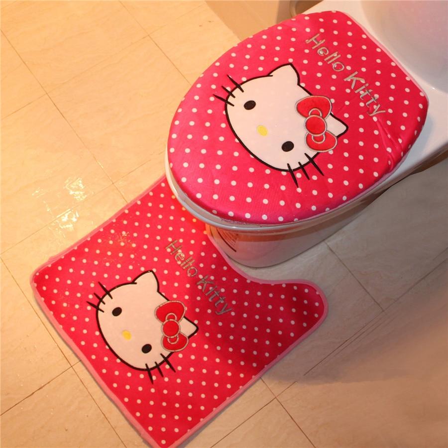 Hello kitty bathroom accessories - 3pcs Set Hello Kitty Bathroom Toilet Set Cover Wc Seat Cover Bath Mat Holder Closestool