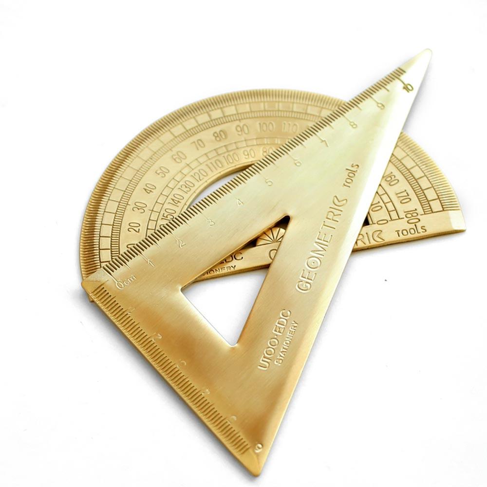 Copper Triangle Square Ruler Brass Miter For Carpenter Lovely Ruler Metal  Bookmark Straight Ruler Semi-circular Measurement