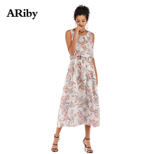 Summer Dress Women Round Collar Maxi Dresses 2019 New Fashion Casual Ladies Printed Mid-long Slim Chiffon Sleeveless Loose