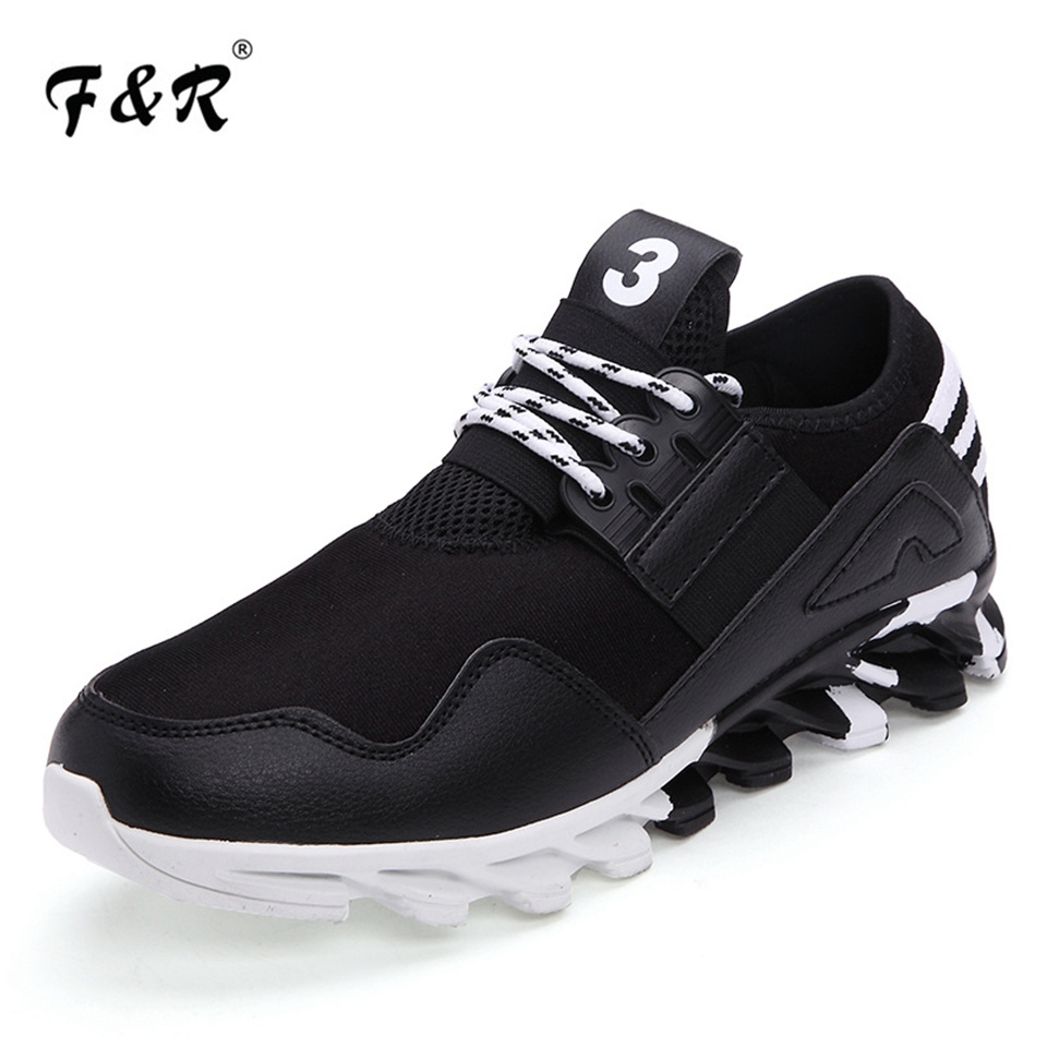 F&R 2018 Spring Men Running Sneakers Trending Sports Walking Shoes Mesh Breathable Blade Bottom Trainers Jogging Shoes 39-44