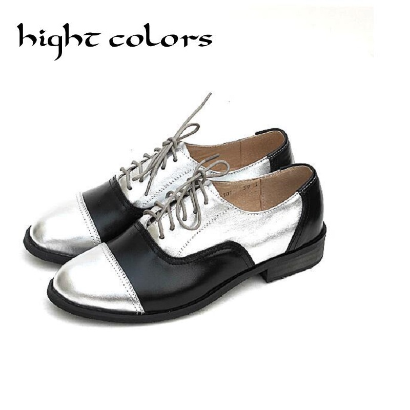 Top Quality Genuine Leather Oxfords For Women Gold Sliver Mixed Colors Female British Style Spring Autumn Casual Flat Shoes top quality genuine leather oxfords for women gold sliver mixed colors female british style spring autumn casual flat shoes