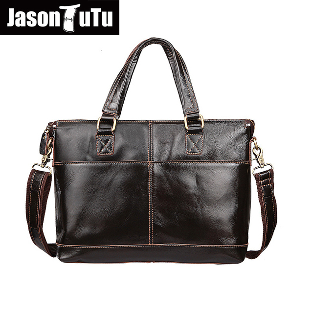 JASON TUTU Genuine Leather Men Handbag Bags Business Laptop Tote Bag  Briefcase messenger bag men leather Shoulder Bag HN34 d7dd3a27d7e4f