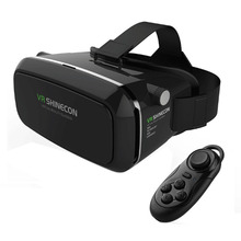 Real 3D Glasses Cardboard!Adjustsble 3D VR Box Virtual Reality Movie Game Glasses For 4.7-6.0″ Phone + Bluetooth Remote Control