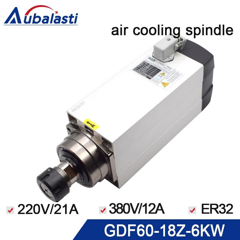 Cnc broche 6KW refroidi par air moteur de broche 380 v 220 v avec 4 pcs portant 18000 rpm ER32 300 hz pour CNC fraisage routeur machine
