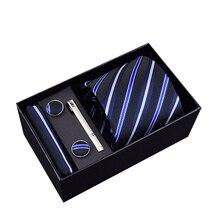 2019 New Brand Classic Mens Blue Ties Set Polyester Neck Cufflinks for Men Custom Formal Wedding Party Groom
