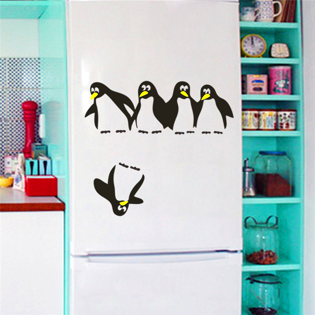 funny penguin wall stickers for kitchen fridge dining room bathroom ...