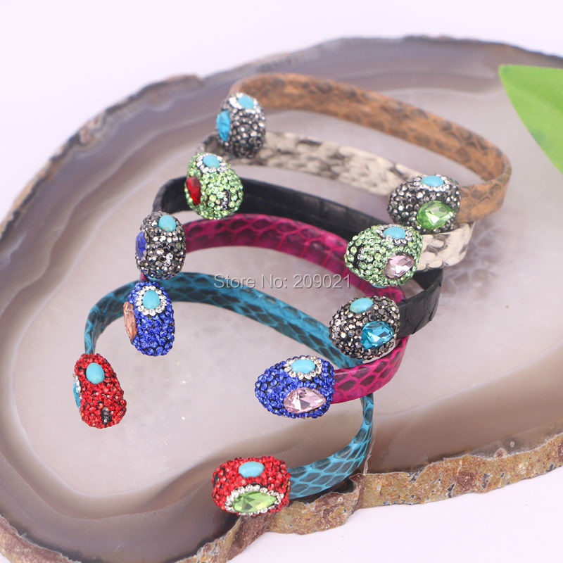 6pcs Mixed Color Snakeskin Cuff Bangles Pave Crystal Rhinestone Bangle for Women Jewelry Finding