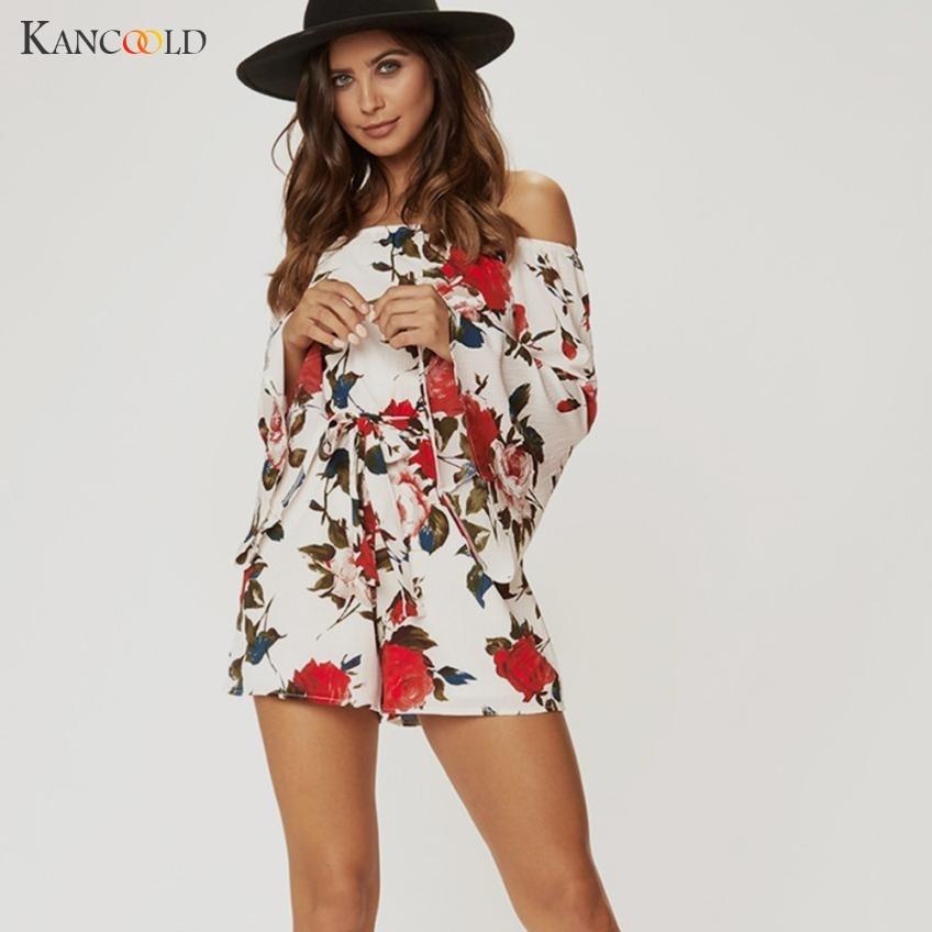 2020 Sexy Bodysuit Jumpsuit Casual Playsuit Women's Fashion Short Floral Print Long Sleeve Slash Neck Elastic Waist romper MY314