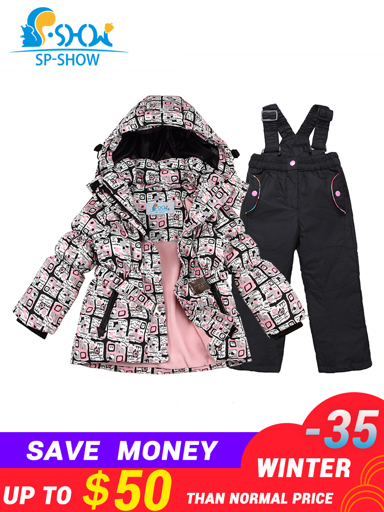 SP-SHOW Nouvelle Hiver enfants Filles Manteau 3-7Age Enfants Ski Costume Épais Chaud Deux-Pièce Filles Veste D'hiver Vers Le Bas + pantalon