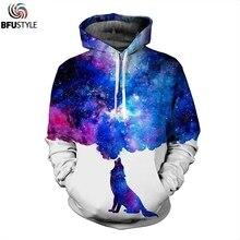 BFUSTYLE galaxy пространство волк печати толстовки для мужчин осень зима костюмы повседневное пуловеры для женщин толстовка с капюшоном человек