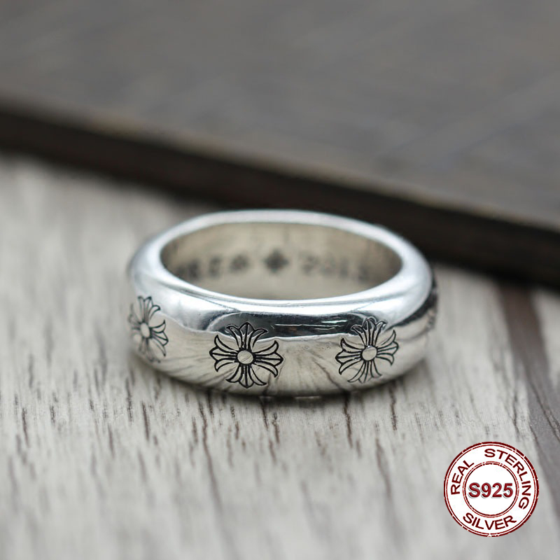 S925 pure silver men's ring personality Do old restoring ancient ways The punk style The crusader's simple and closed classic ornament punk wind restoring ancient ways do old crusades flowers bag buckles 925 sterling silver jewelry wholesale