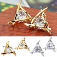 Women's Luxury Crystal Zircon Triangle Ear Studs High-End Elegant Gift Earrings