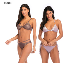 2019 New Bikini Sets Women Swimsuit suit for High Waist Halter Bathing Suit Sexy Swimwear Push Up Solid