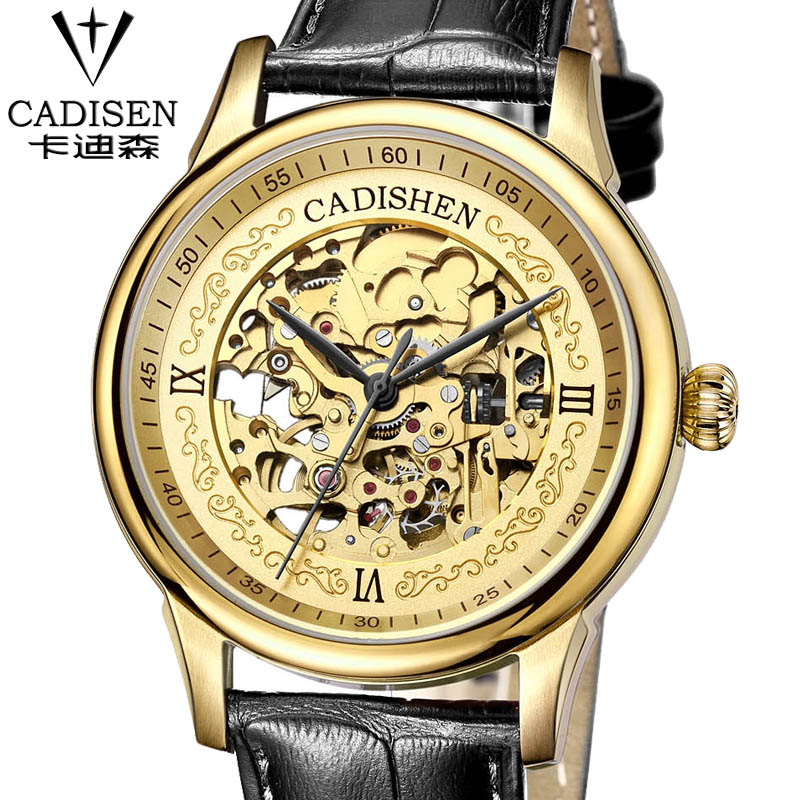 cadisen Hollow Automatic Mechanical Watches Men Luxury Brand Leather Strap Casual Vintage Skeleton Watch Clock relogio forsining gold hollow automatic mechanical watches men luxury brand leather strap casual vintage skeleton watch clock relogio