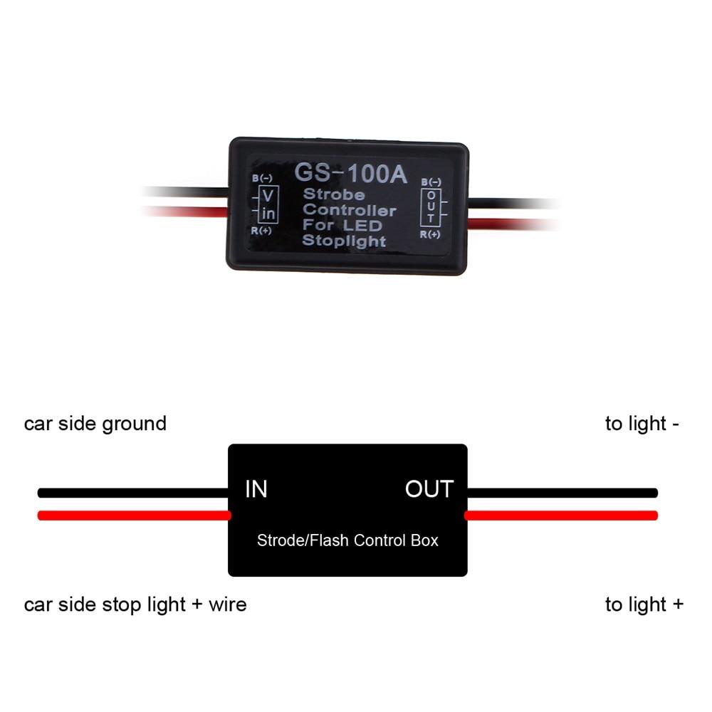 GS-100A à prova d 'água LED Brake Stop Light Lâmpada Flash Strobe - Faróis do carro - Foto 4