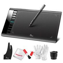 Parblo A610 Dijital Tablet Grafik çizim tableti 5080 LPI çözünürlük Tablet Pad Çizim + Temizleme Kiti