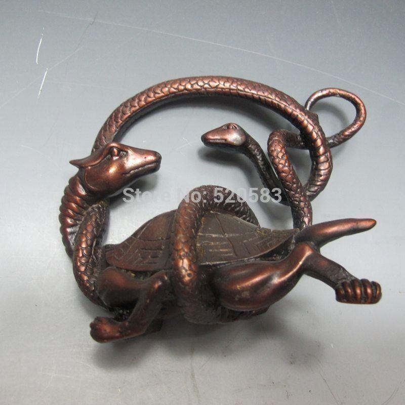 Livraison Vieux Bronze Chinois Sculpté à La Main Statue-Tortue & Serpent rapide