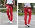 2016 NEW Korean New Men's Cotton PU Leather Splice Slim Fit Casual Pants Trousers 2 Color