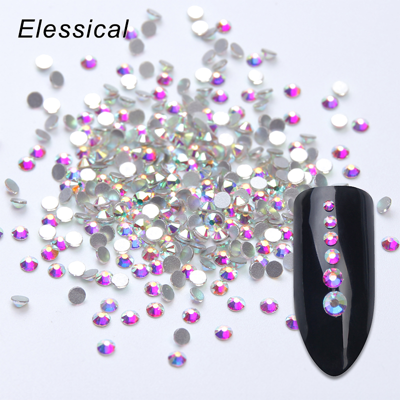 Elessical 1440pcs SS3-SS10 Crystal AB Rhinestones Nail Strass Flatback 3D Nail Art Decorations Clear Half Bead Nails Accessories ss3 to ss10 mix size rhinestones for nails glass nail rhinestones strass nail art decorations clear 3d nail art manicure mjz0028