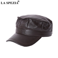 LA SPEZIA Women Military Hat Brown Genuine Leather Casual Army Cap Men Itilian Brand Natural Leather Winter Classic Flat Top Hat
